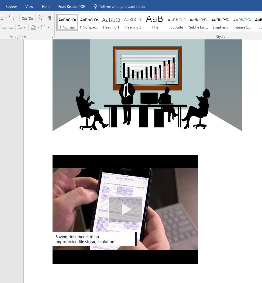 Word document with online image and video inserted