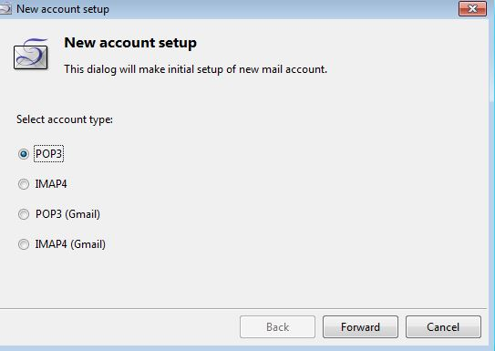 choosing email account type in Sylpheed