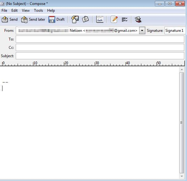 message window in Sylpheed email client