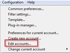 changing preferences for email accounts in Sylpheed