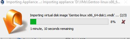 importing gentoo as an open virtual appliance in virtualbox