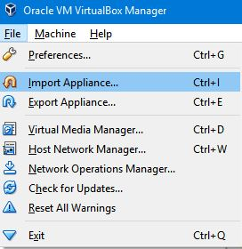 importing ova in virtualbox