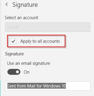 enable or disable email signature on per account basis or for all