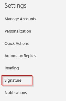signature settings for Windows 10 mail app