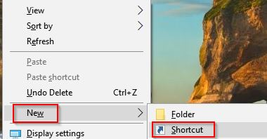 creating a new shortcut in Windows 10