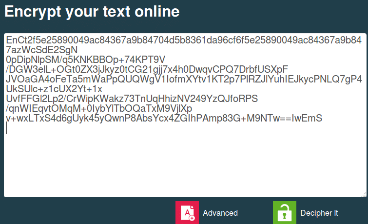 copy pasting encrypted message for decrypting using encipher.it