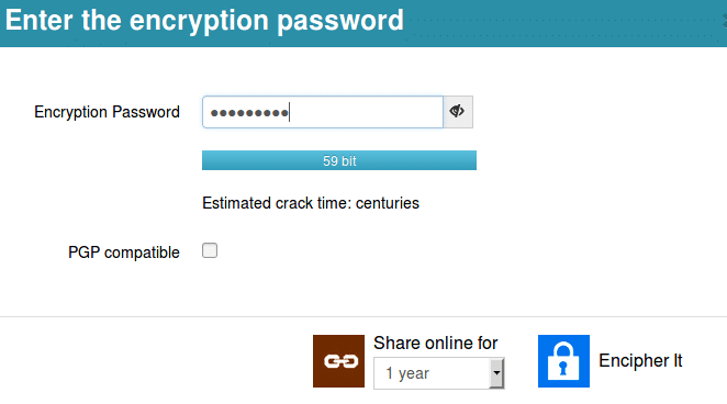 setting the encryption password when using encipher.it