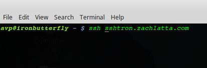 ssh in Linux terminal