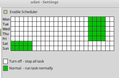 setting download hours for different days in uGet scheduler