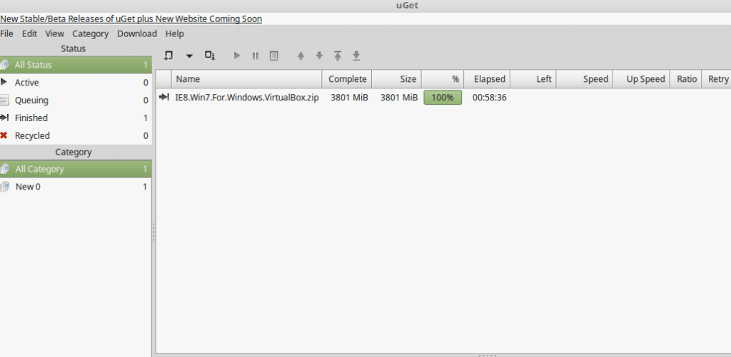 uGet user interface in Linux Mint