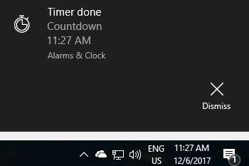 Timer notification displayed using Alarms & Clock