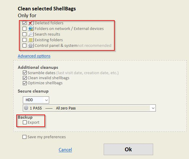 configuring deletion options for shellbags