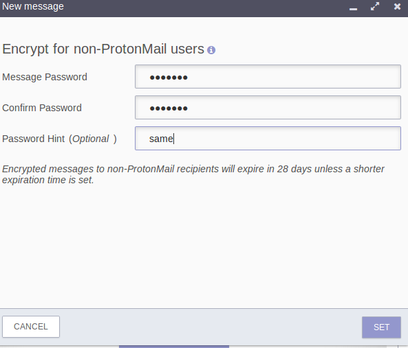 password settings for encrypted emails