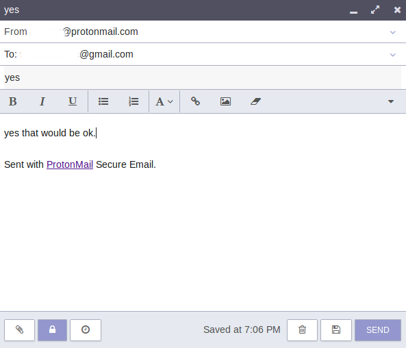 setting encryption for emails in protonmail