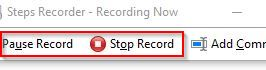 pause or stop recording using step recorder