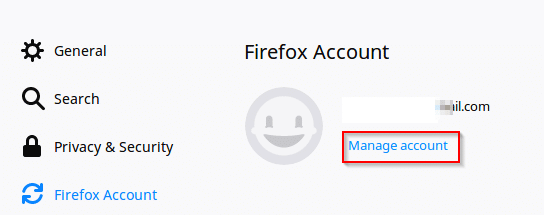 accessing Firefox account for changing sync settings