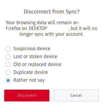 disconnecting devices no longer used from using Firefox sync