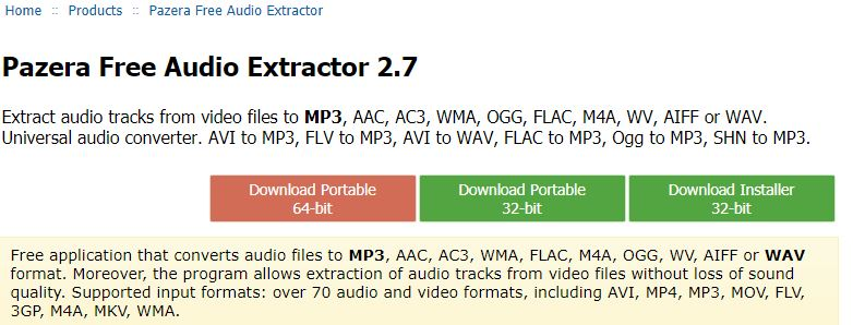 download page for Pazera Free Audio Extractor