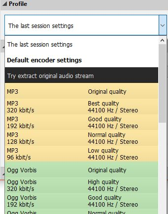 choosing a preset profile for audio conversion in Pazera Free Audio Extractor