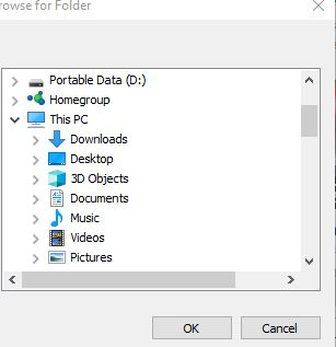 selecting output folder for downloading youtube videos