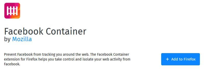 Facebook Container add-on for Firefox