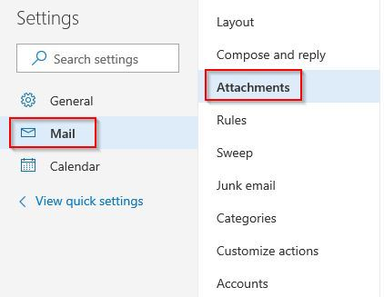 Mail and Attachment settings in Outlook.com