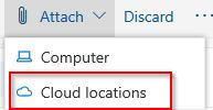 choosing cloud storage account to upload files in Outlook