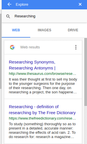 google docs showing information about chosen topics for research
