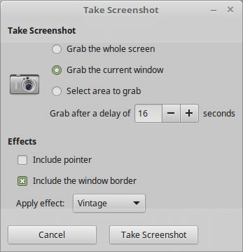 Screenshot tool in Linux Mint
