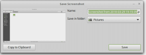 saving the captured screenshots using Screenshot tool in Linux Mint