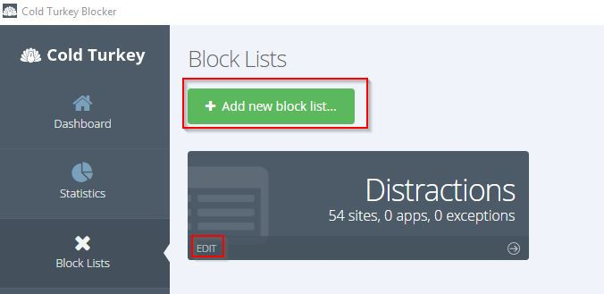 adding a new block list in Cold Turkey
