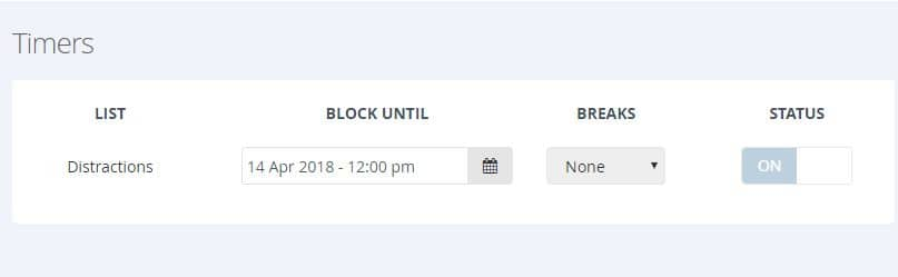 timer set with block list in Cold Turkey