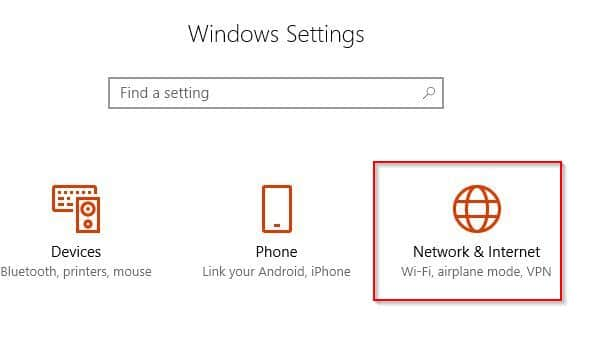 accessing network settings in Windows 10