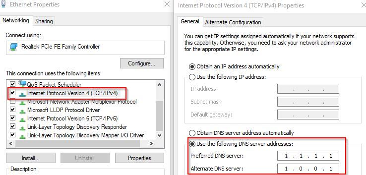 CloudFlare DNS IPv4 settings in Windows 10