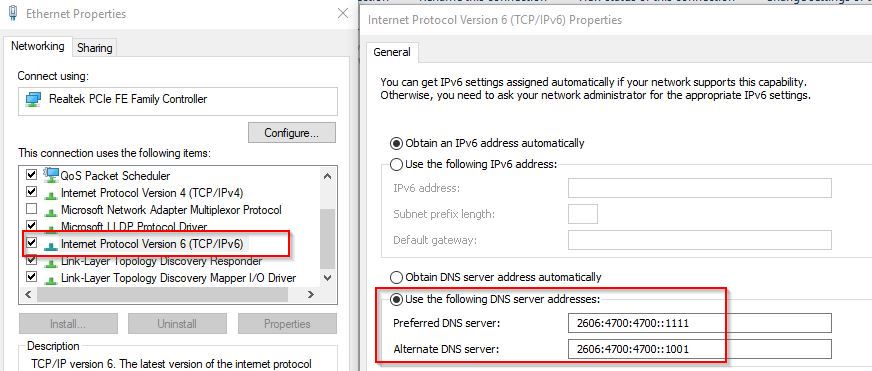 CloudFlare DNS IPv6 settings in Windows 10