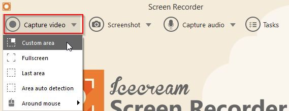 Icecream Screen Recorder video area selection