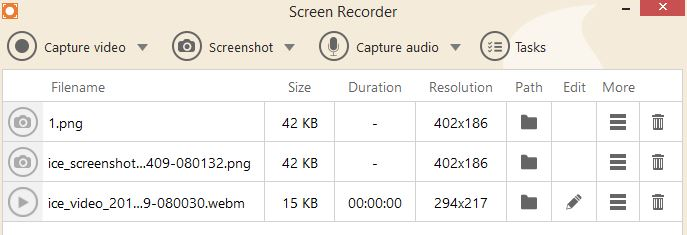 list of video captures and screenshots using Icecream Screen Recorder