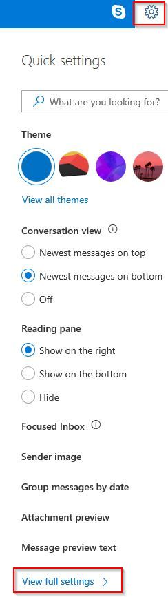 outlook.com settings