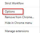 accessing options menu in Strict Workflow