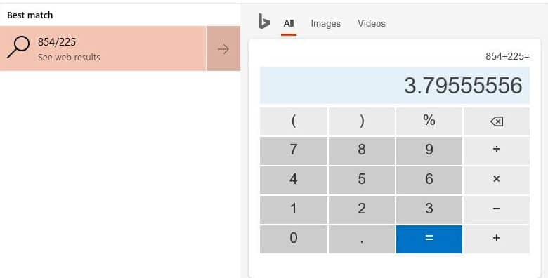 calculation results by using Cortana