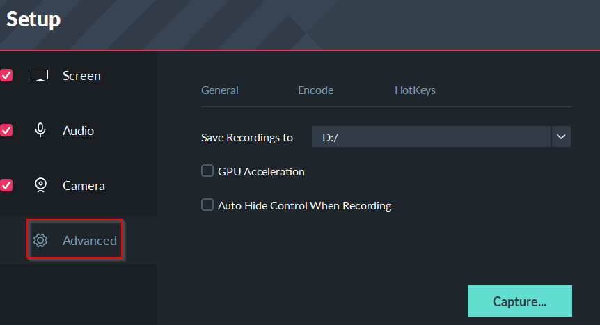 configuring advanced settings in filmora scrn