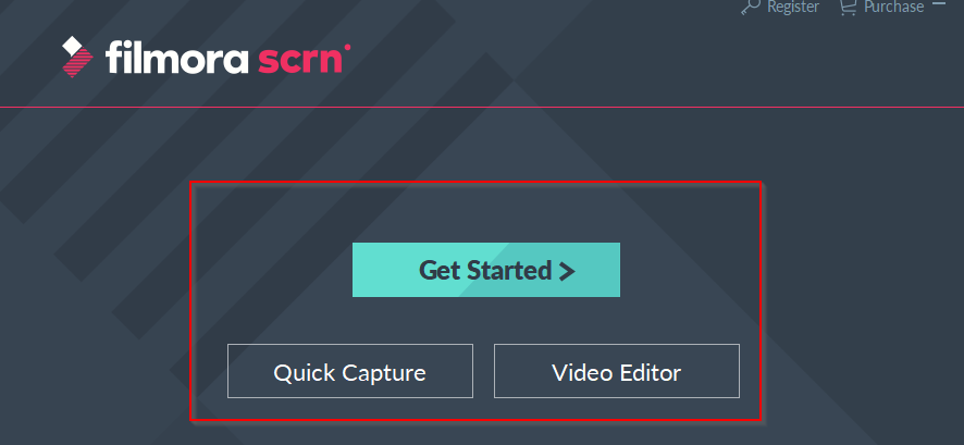 main interface of filmora scrn