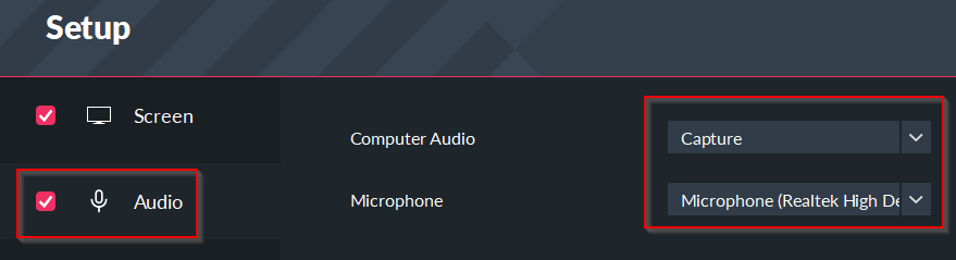 changing audio recording settings in filmora scrn