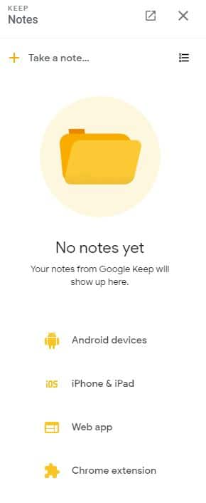 Google Keep integration with Gmail