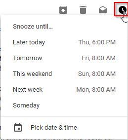 choosing a snooze date and time for messages in Gmail
