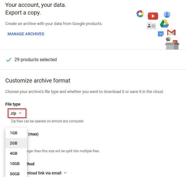 customizing user data download options in Google Takeout