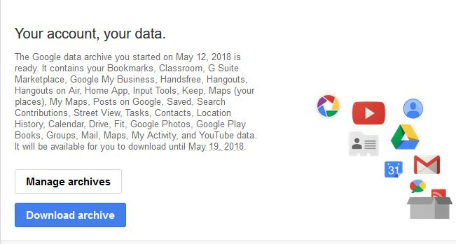 email notification about Google user data archive ready for downloading