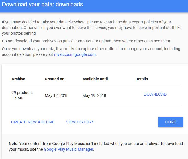 Managing user data archives and downloading in Google Takeout