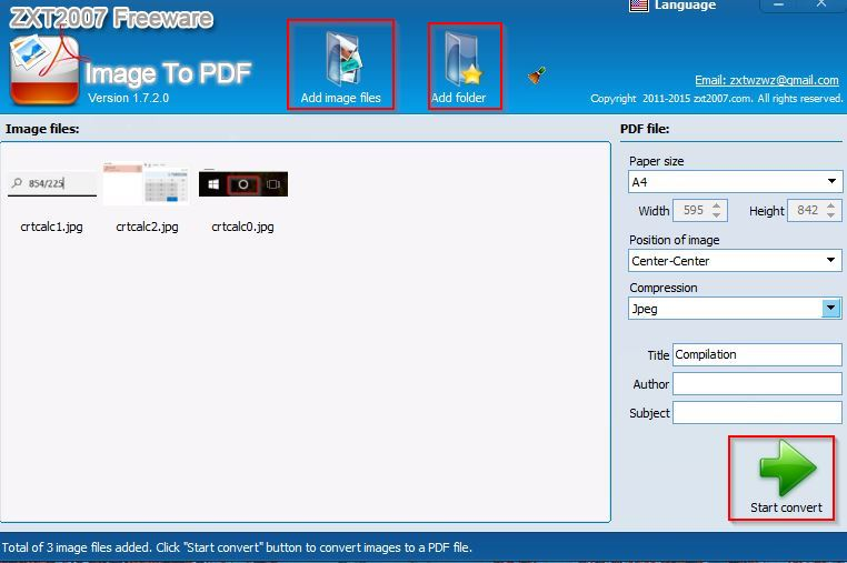 Image To PDF freeware user interface