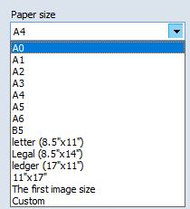 Selecting paper size for output PDF file